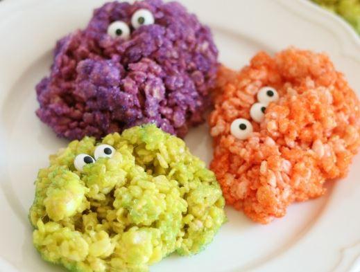 Dolcetti di Halloween senza glutine: mostri e zucche di riso soffiato