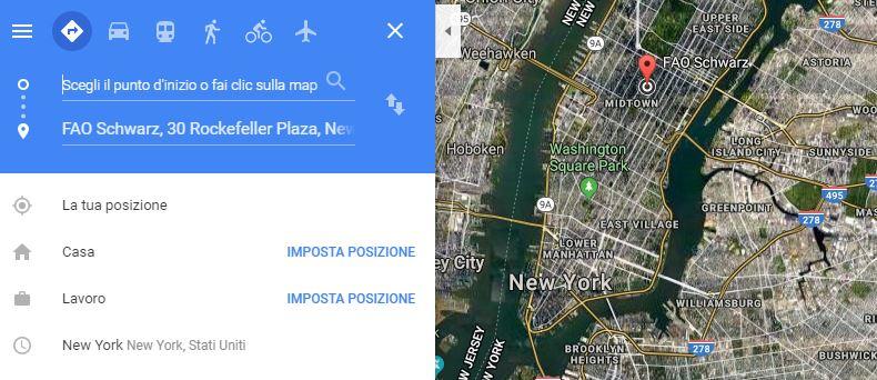 Google Maps Trasporti e a piedi